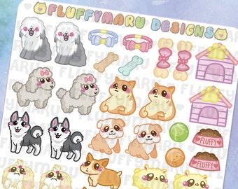 Doggy Deco Sticker Set || Planner Stickers, Cute Stickers for Erin Condren (ECLP), Filofax, Kikki K, Etc. || DS07