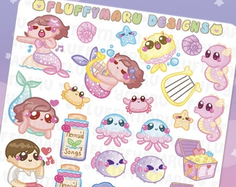 Mermaid Deco Sticker Set || Planner Stickers, Cute Stickers for Erin Condren (ECLP), Filofax, Kikki K, Etc. || DS28