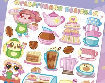 Cafe Fluffy Deco Sticker Set || Planner Stickers, Cute Stickers for Erin Condren (ECLP), Filofax, Kikki K, Etc. || DS33