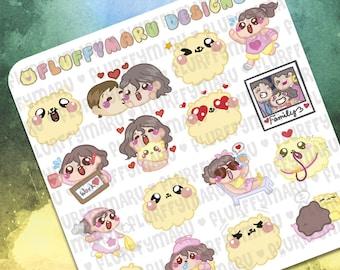 Sammie And Fluffymaru Sticker Samplers || Planner Stickers, Cute Stickers for Erin Condren (ECLP), Filofax, Kikki K, Etc. || SS03