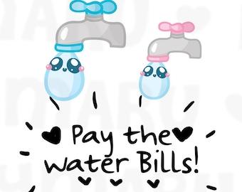 Water Bill Reminder || Planner Stickers, Cute Stickers for Erin Condren (ECLP), Filofax, Kikki K, Etc. || DPS147