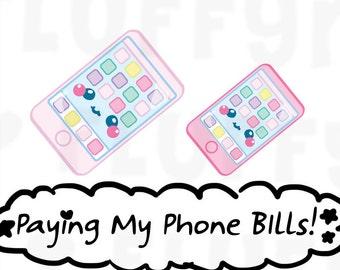 Cellphone / Phone Bills    Planner Stickers, Cute Stickers for Erin Condren (ECLP), Filofax, Kikki K, Etc.    DPS23