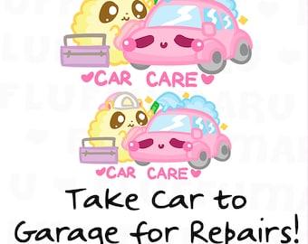 Car Care Fluffymaru || Planner Stickers, Cute Stickers for Erin Condren (ECLP), Filofax, Kikki K, Etc. || SFS131