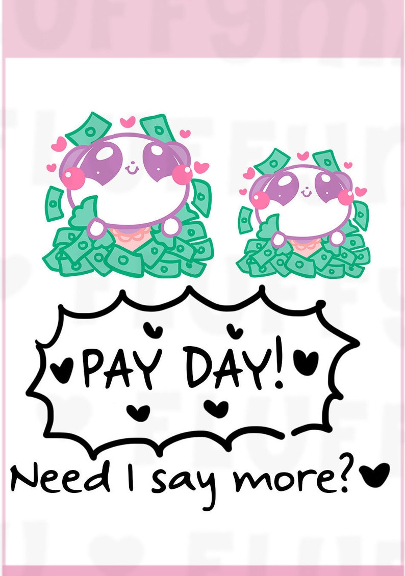 Pay day panda mimi planner stickers cute stickers for erin etsy