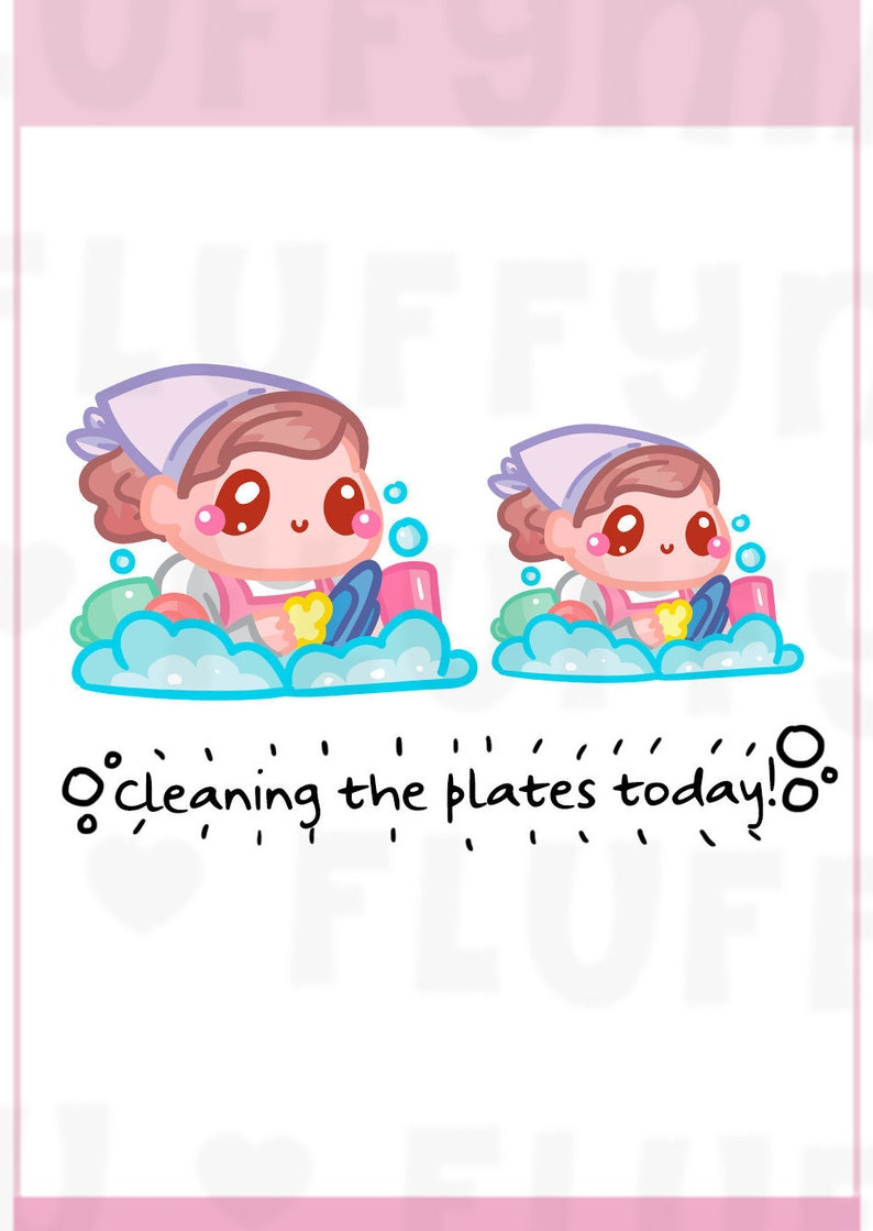 Dishwashing Time Sammie  Planner Stickers Cute Stickers for image 0