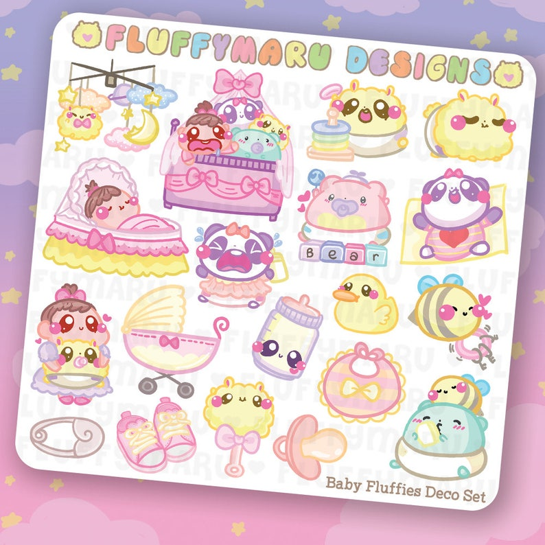 Baby Fluffies Deco Sticker Set  Planner Stickers Cute image 0