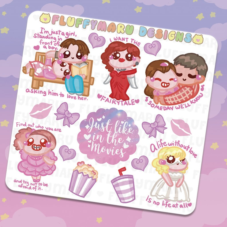 Romantic Chick Flick Movie Deco Sticker Set  Planner image 0
