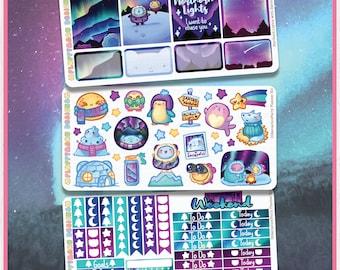 Northern Lights With Sprinkles Planner Kit || Planner Stickers, Cute Stickers for Erin Condren (ECLP), Filofax, Kikki K, Etc. || PKS03