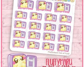 Out of Food Fluffymaru || Planner Stickers, Cute Stickers for Erin Condren (ECLP), Filofax, Kikki K, Etc. || SFS55