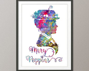 Mary Poppins Print, Mary Poppins Decor, Disney print, Mary Poppins Art, Mary Poppins Wall Art, Disney Nursery Art, Disney Decor