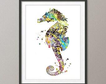 SEAHORSE, Watercolor Print, watercolor painting, watercolor art, Illustration, home decor wall art