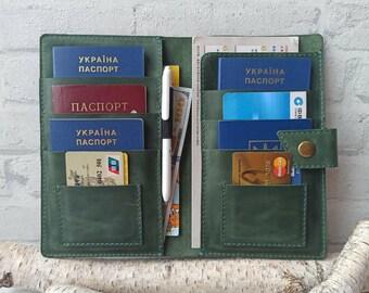 Monogramed Leather travel walletfamily travel document organizergift womanFamily passport holder\\Leather family 4,6,8,10 Passport holder