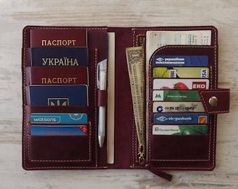 d2f450aeaa6c Family passport holder Leather travel wallet  4 passport holder travel  wallet passport holder family travel wallet leather passport holder