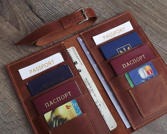 Familie paspoorthouder  6 paspoorten houder  4 paspoorten houder  8 paspoorten holder10 paspoorten houder  reis walletleather reis portemonnee
