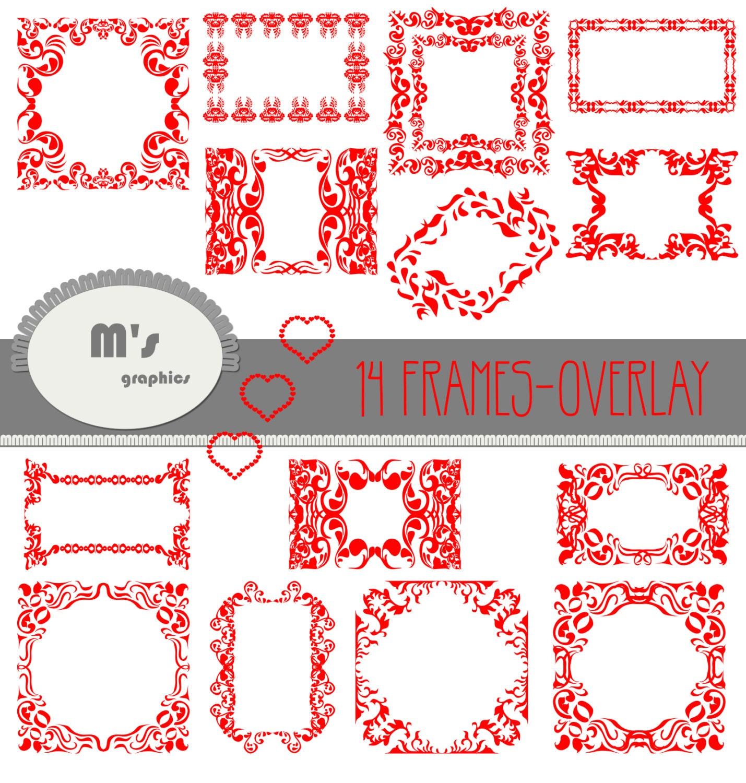 Herz-Bilderrahmen-Etiketten rot Damast Overlay. Transparent | Etsy