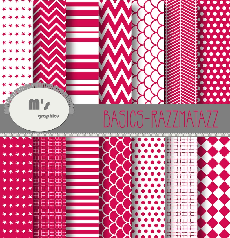 Dots Chevron Stripes Herringbone Stars 14 Patterned Digital papers and 2 backgrounds Digital Paper Red and White