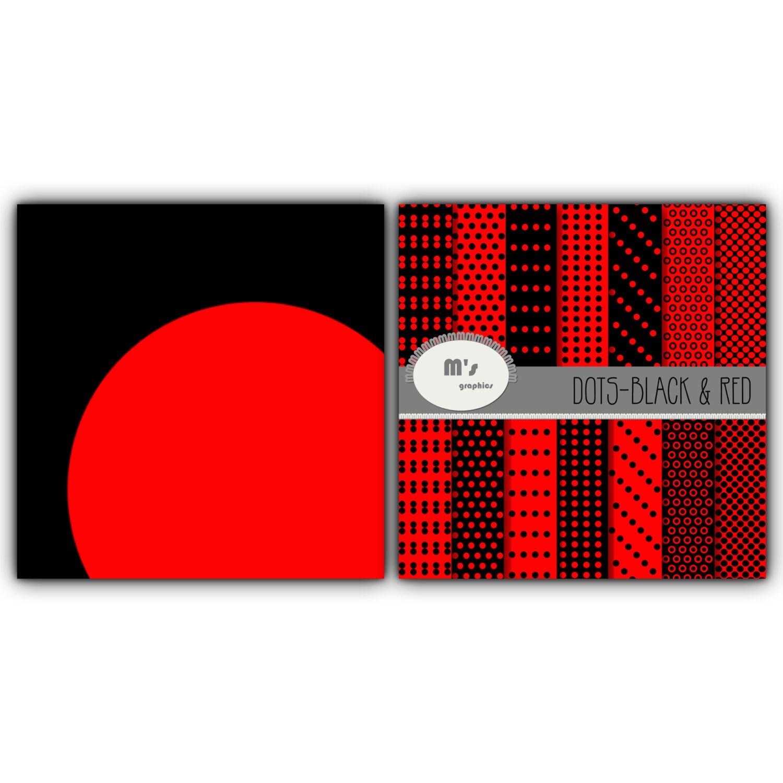 Carta Digitale Pack Sfondo Pattern Pois In Rosso E Nero 14 Etsy