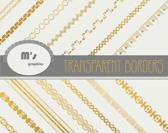 Digital Paper Borders Frames Transparent GOLD. Geometric Wedding Patterns. Aztec motifs