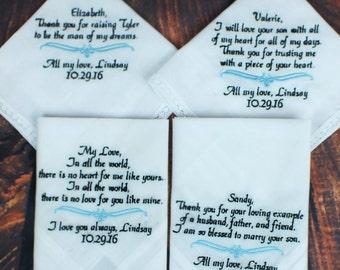 Wedding Hankerchiefs - Set of 4 - Mother of Groom Gift - Personalized Wedding Gift -  Personalized Wedding Handkerchief - Simply Name