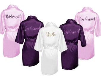 Bridesmaid Robes Set of 5 - Bridal Party Robes - Bridesmaid Wedding Gift - Robe - Personalized Satin Robes