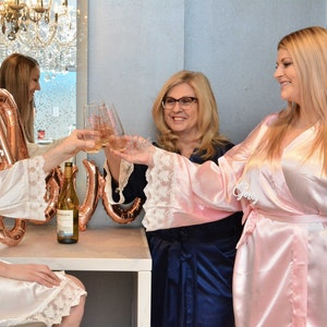 Unicorn Party Favors Lace Robes Satin Robes with Lace Lace Bridesmaid Robe Lace Robes Robe Unicorn Gifts Unicorn Robes