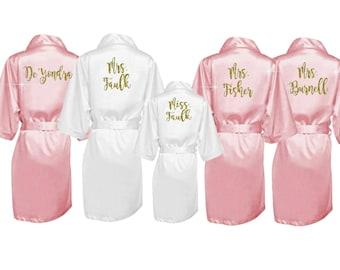 5e61ea2c99 Silk Bridesmaid Robes Set of 6 - Silk Bridal Party Robes - Bridesmaid  Wedding Gift - Silk Robe - Personalized Silk Robes