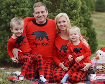 SALE!!! Plaid Mama Bear Pajamas - Mama Bear Christmas Pajamas - Heat Pressed Christmas Pajamas - Family Christmas Pajamas - Pyjamas