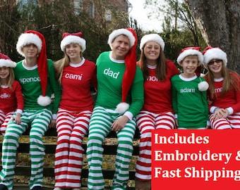 Christmas Pajamas - Embroidered name Pj\u0027s for the family Family with Na Men\u0027s \u0026 Robes | Etsy