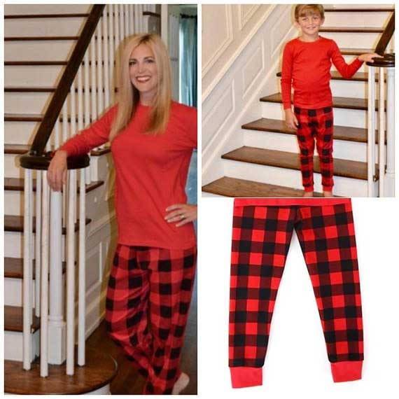 flash vente plaid no l pyjama pyjamas de no l pour la etsy. Black Bedroom Furniture Sets. Home Design Ideas