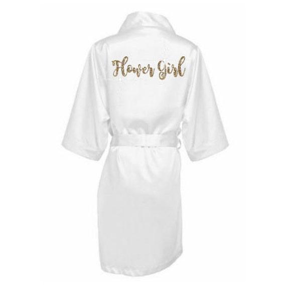 White satin flower girl robe