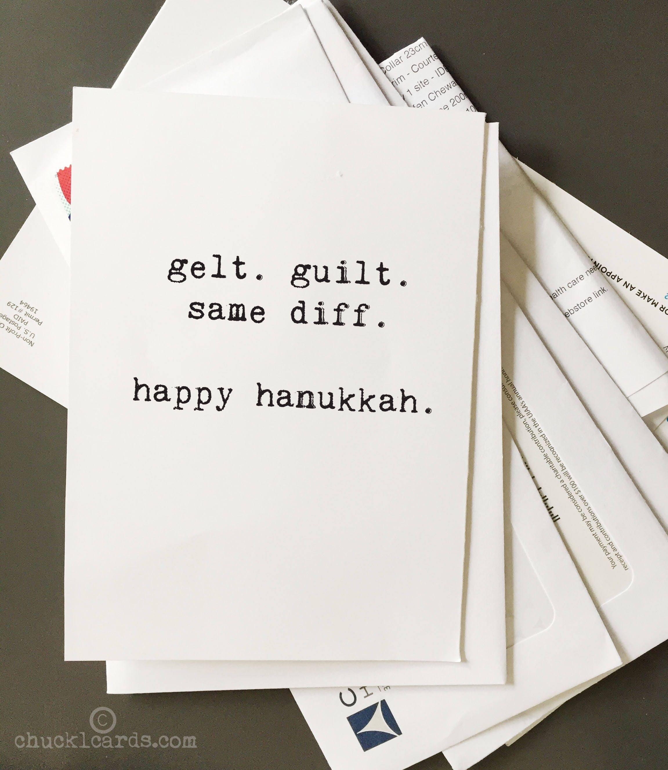 hanukkah card geltguilt card holiday cards jewish humor funny hanukkah card chanukah card blank inside typewriter font chucklcards - Funny Hanukkah Cards