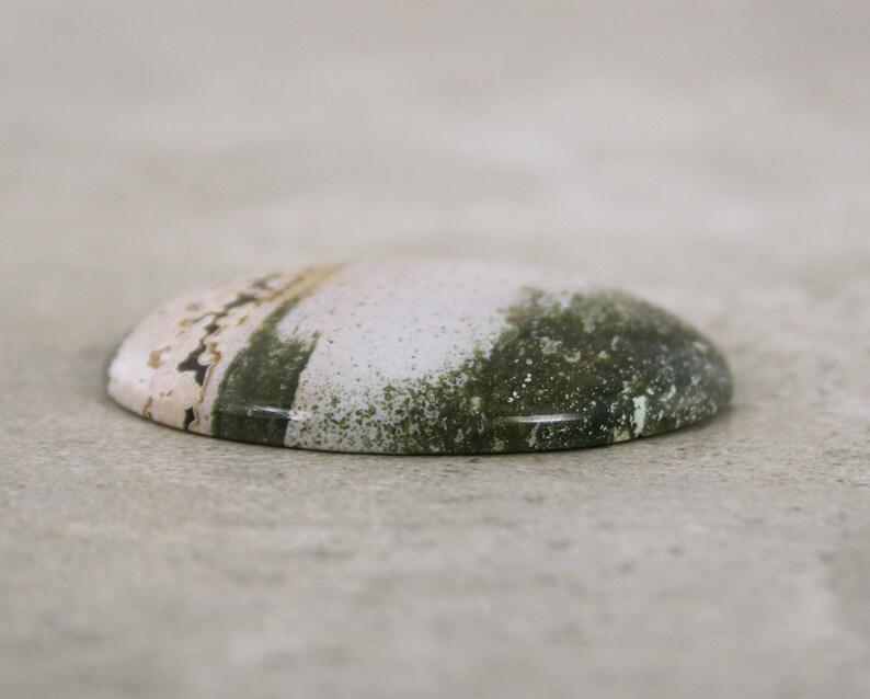 White /& Green Orbicular Jasper Loose Oval Stone Ocean Jasper Cabochon