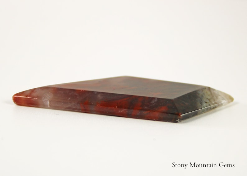 Red Filament Agate Hand Cut Stone Cab with Deep Bevels and a Flat Top Freeform Designer Cabochon Garden Agate Red Flame Agate Cabochon