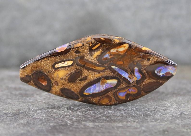 Polished on Both Sides Koroit Opal Cabochon Purple Fire Rare Australian Opal Collector Stone Natural Boulder Opal Gemstone Cab