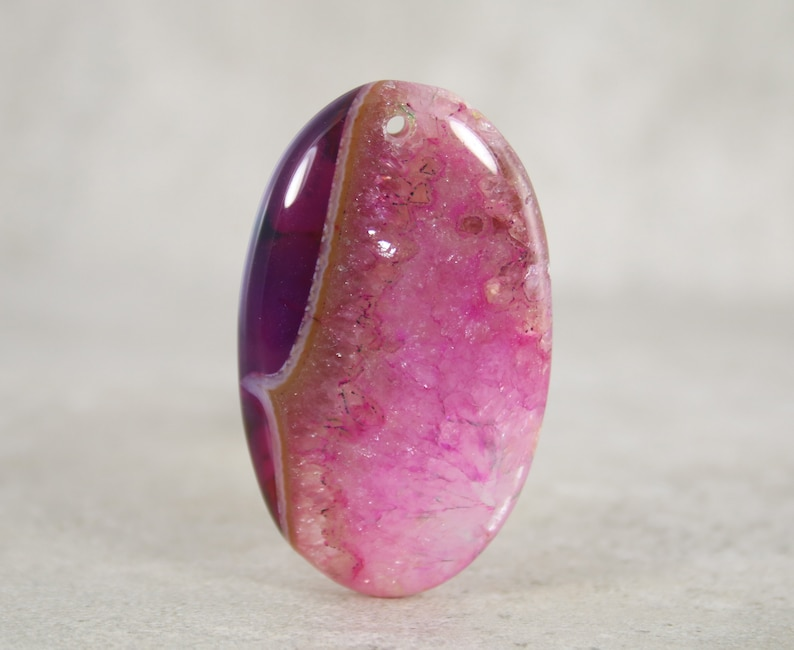Large Front Drilled Pendant Stone Bead Agate Cabochon Bead DIY Jewelry Stone Pendant