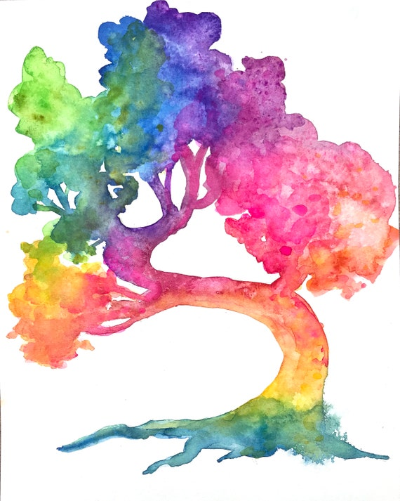 Original Watercolor Bonsai Tree Rainbow Tree Art Tree Etsy