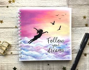 Let go and fly, Follow your dreams, Inspirational notepad, spiral bound, UK Seller.