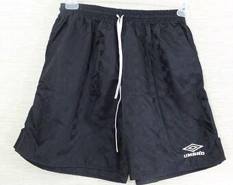db7b953d9 UMBRO Unisex Men Women Large Spell Out Nylon Soccer Shorts Black Patterned  USA Vintage