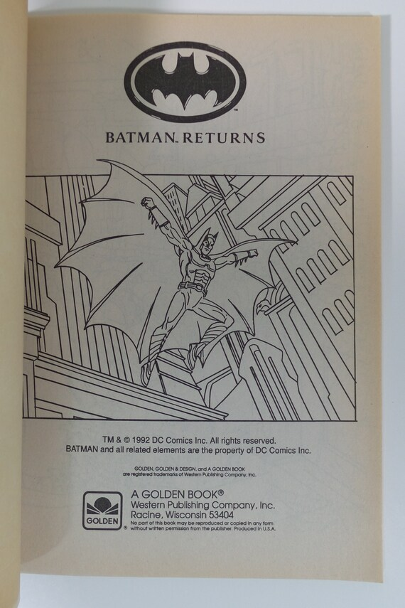 Batman Returns Big Coloring Book 2998-1 1992 Golden NEW Unused