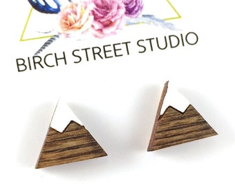 Mountain Earrings Wood, Mountain Studs, Mountain Range Earrings, Mountain Jewelry, Gifts under 20, The Mountains are Calling, Tiny Studs