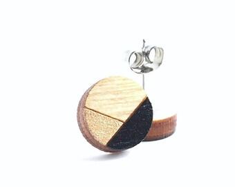 Black and Gold Earrings, Laser Cut Wood Studs, Geometric Earrings, Laser Cut Jewellery, Minimalist Earrings, Tiny Stud Earrings/ Minimal