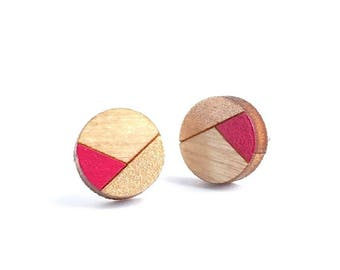 Spring Earrings, Pink and Gold Earrings, Laser Cut Wood Earrings, Gifts Under 20, Tiny Stud Earrings, Surgical Steel Posts, HypoAllergenic