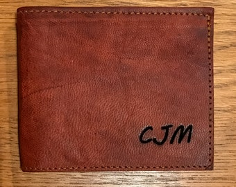Heathbold handmade wallet. Engraved with your message or monogram. Handmade premium full grain tobacco brown leather