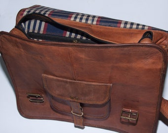 """Leather satchel bag by Heathbold. Free engraving. Unique plaid cotton linings. Beautiful handmade brown leather messenger laptop bag XL 15"""""""