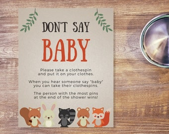 Woodland Creatures Baby Shower Don't Say Baby Sign | Printable Baby Shower Sign