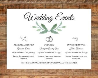 Greenery Wedding Events Details Card, Leafy Green Wedding Events Details Card, Water Color Card, Printable Details Card Digital Download