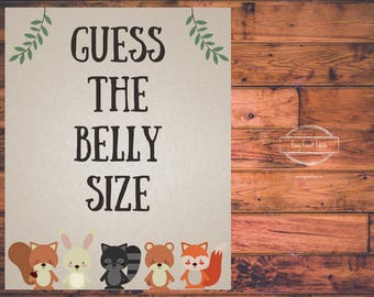 Woodland Creatures Baby Shower Guess the Belly Size Sign   Printable   Instant Download