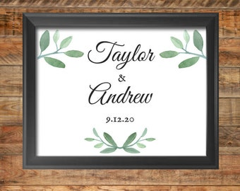 Greenery Personalized Name and Date Wedding Sign, Greenery  Personalized Name and Date Shower Sign, Printable, Instant Digital Download