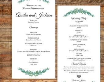 Greenery Wedding Program, Leafy Green Wedding Program, Water Color Wedding Program, Printable Wedding Program Digital Download
