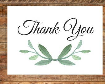 Greenery Thank You Card, Printable, Instant Digital Download